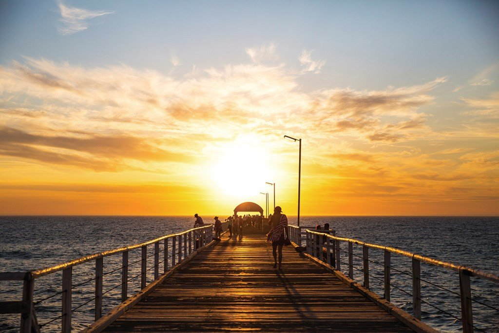 Glenelg beach at sunset.