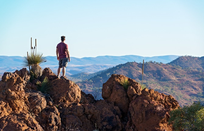 Student standing on top of rock in the Flinders Ranges
