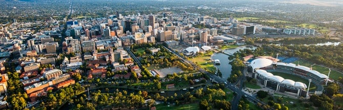 Aerial view of Adelaide's central business district